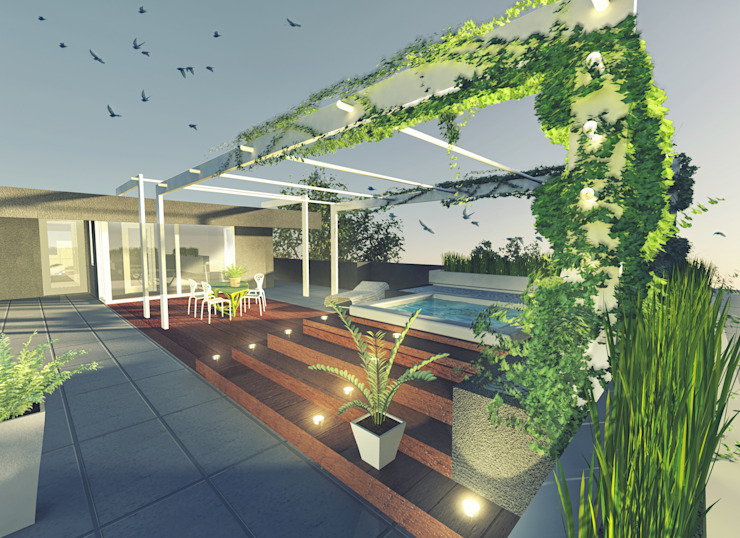 Concrea residenze a5studio Balcone, Veranda & Terrazza in stile moderno