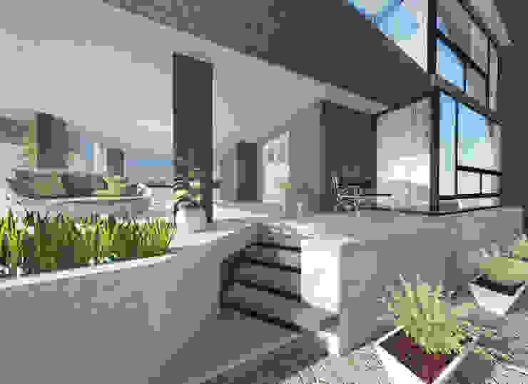 a5studio モダンスタイルの 玄関&廊下&階段