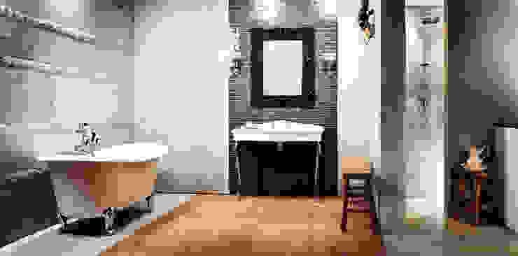 AUSSTELLUNG Badezimmer im Landhausstil von Die Fliese art + design Fliesenhandels GmbH Landhaus Holz Holznachbildung