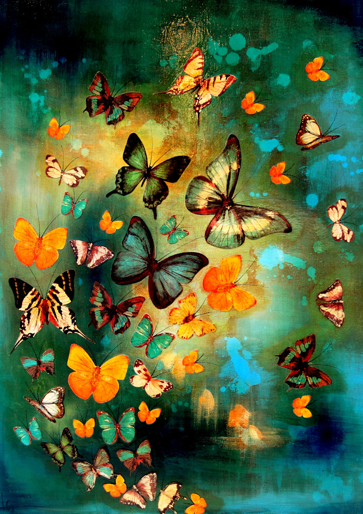 Butterflies on Blues and Greens: eclectic  by Lily Greenwood , Eclectic