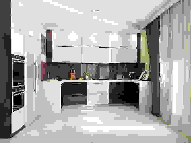 Минималистичный интерьер с яркой детской Кухня в стиле минимализм от Tatiana Zaitseva Design Studio Минимализм