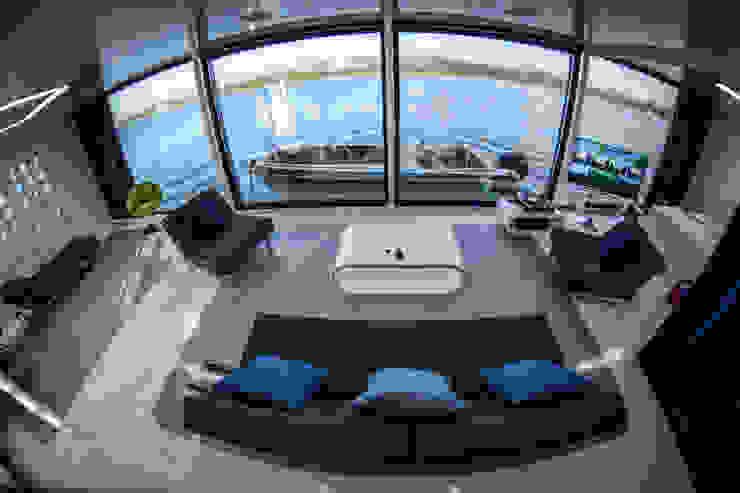 Domy na wodzie Nowoczesny salon od floatinghouses Nowoczesny
