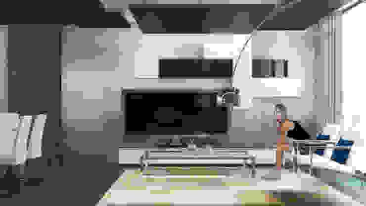 Departamento B-12 Salas multimedia modernas de CONTRASTE INTERIOR Moderno Metal