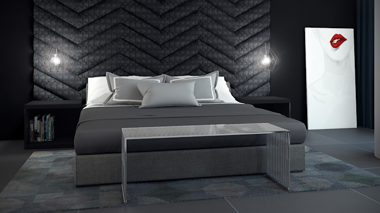 CONTRASTE INTERIOR Modern style bedroom Leather Grey
