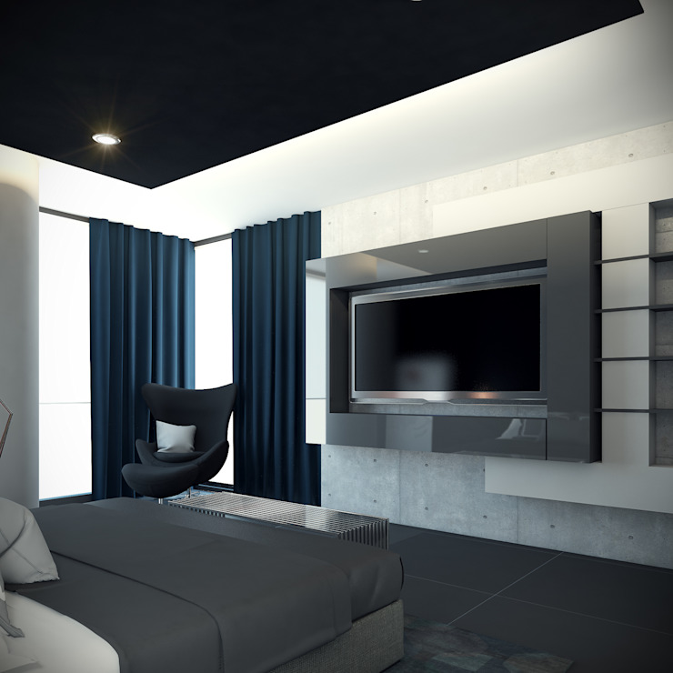 Departamento B-12 Dormitorios modernos de CONTRASTE INTERIOR Moderno Derivados de madera Transparente