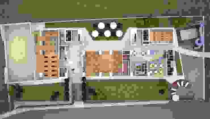 Residencial Vivalto Pasillos, vestíbulos y escaleras modernos de Grupo Nodus Arquitectos Moderno