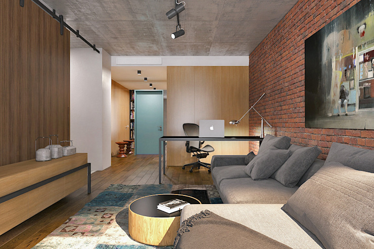 Lugerin Architects Living room Bricks Brown