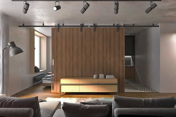 Lugerin Architects Living room Wood Brown