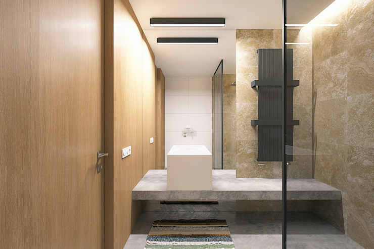 Lugerin Architects Industrial style bathrooms Stone Brown