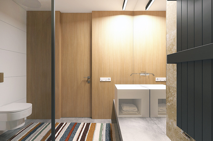 Lugerin Architects Industrial style bathrooms Wood Beige