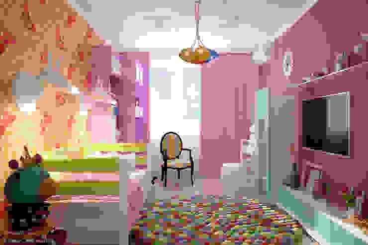 """Дизайн детской девочки в стиле фьюжн в ЖК """"Новый город"""" Детская комната в стиле модерн от Студия интерьерного дизайна happy.design Модерн"""