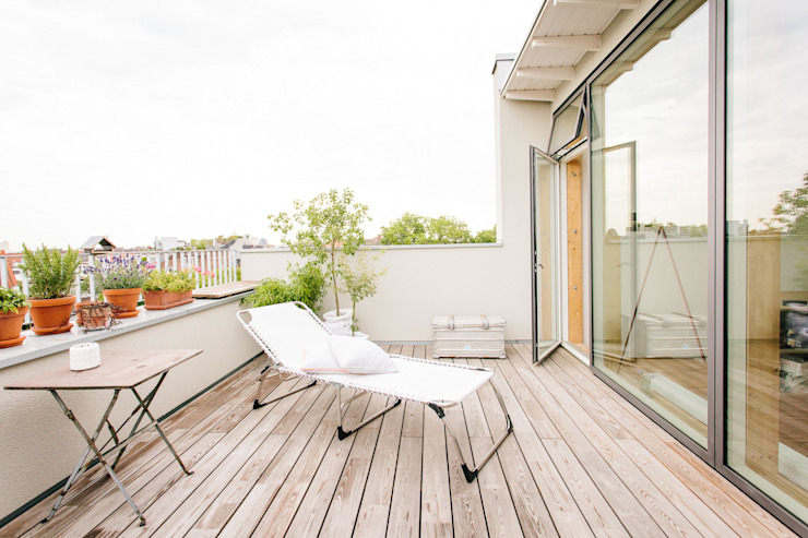 Aufstockung MFH, Köln Moderner Balkon, Veranda & Terrasse von Jan Tenbücken Architekt Modern
