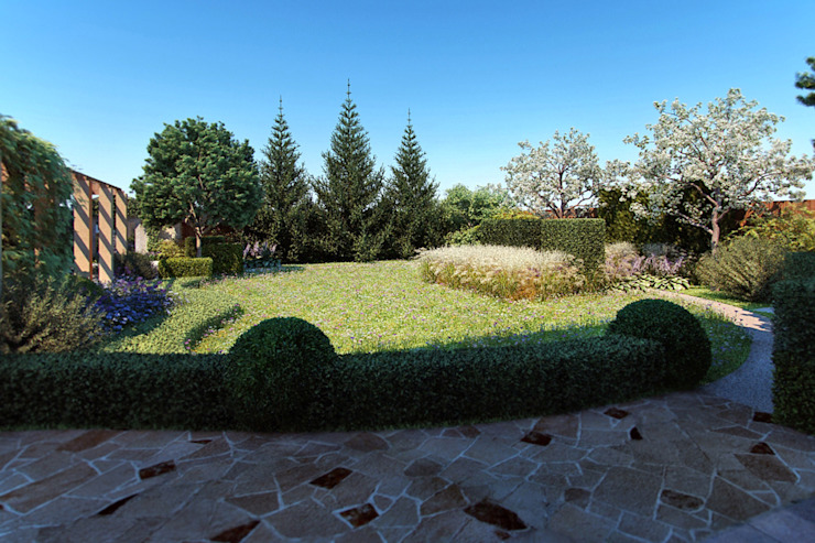 Вид из дома Сад в средиземноморском стиле от Руслан Михайлов rmgarden Средиземноморский