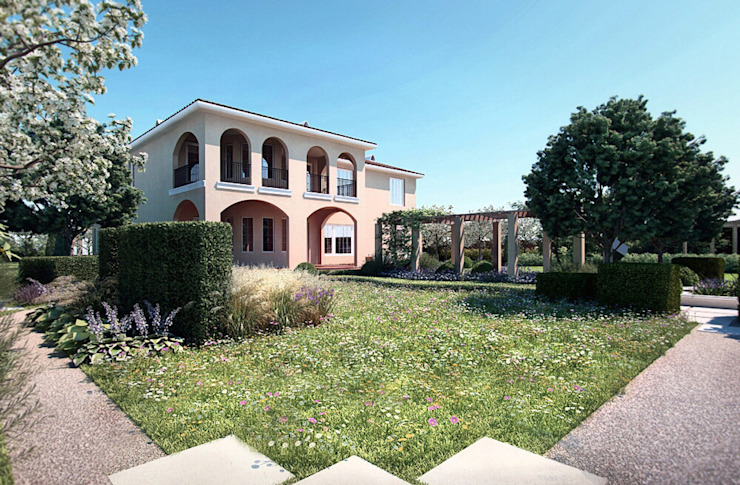 Вид из сада на дом. Сад в средиземноморском стиле от Руслан Михайлов rmgarden Средиземноморский
