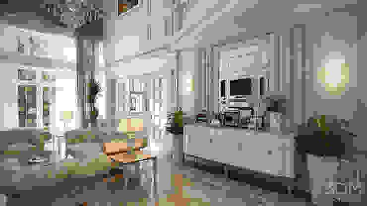 Проект 031: интерьер частного дома Гостиная в классическом стиле от студия визуализации и дизайна интерьера '3dm2' Классический