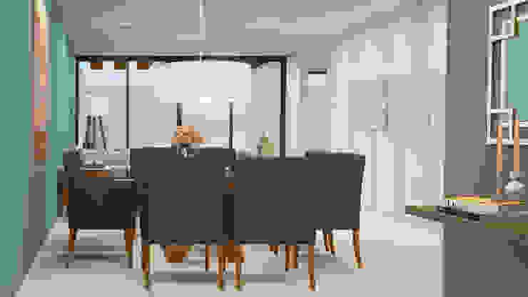 غرفة السفرة تنفيذ CONTRASTE INTERIOR, كلاسيكي قماش Amber/Gold