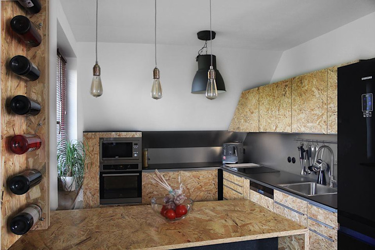 Cocinas modernas de kreARTywni_ studio projektowe Moderno Madera Acabado en madera