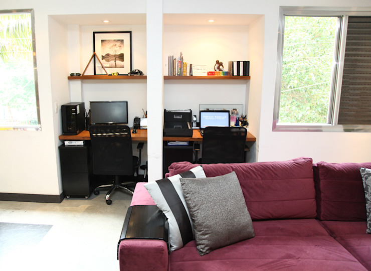 Apartamento de 60m² Escritórios ecléticos por Fabiana Rosello Arquitetura e Interiores Eclético