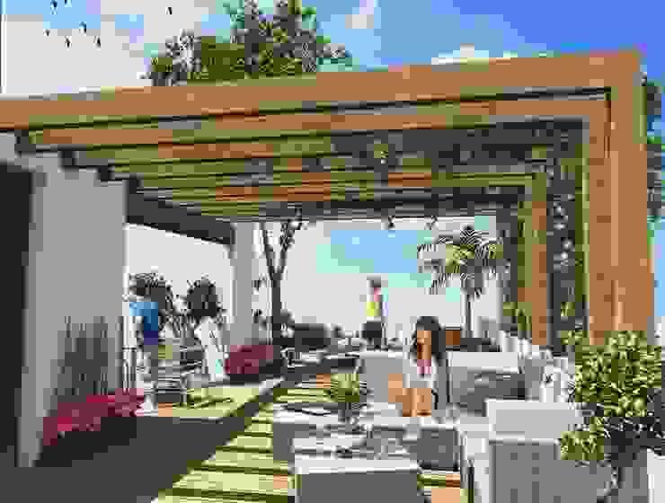 Milla Arquitectos S.A. de C.V. Balcone, Veranda & Terrazza in stile minimalista