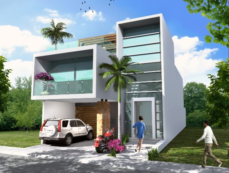 Milla Arquitectos S.A. de C.V. Case in stile minimalista Bianco
