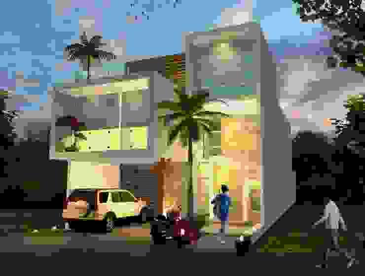 Milla Arquitectos S.A. de C.V. Casas minimalistas Branco