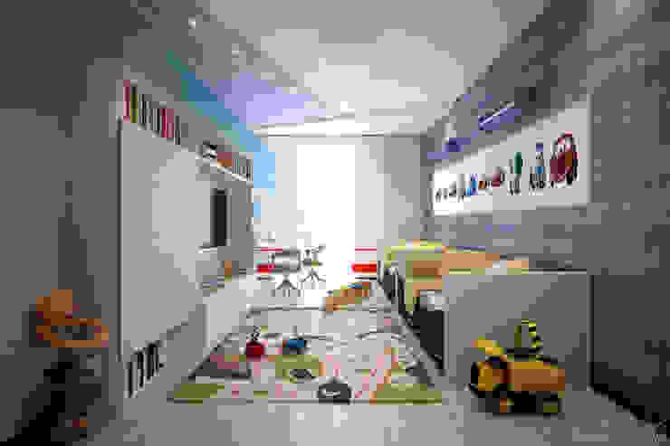 """Дизайн детской мальчиков в современном стиле в ЖК """"Новый город"""" Детская комната в стиле модерн от Студия интерьерного дизайна happy.design Модерн"""