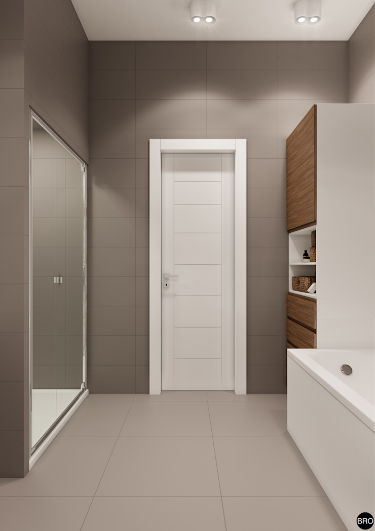 3-к квартира для молодой семьи Ванная комната в стиле минимализм от BRO Design Studio Минимализм