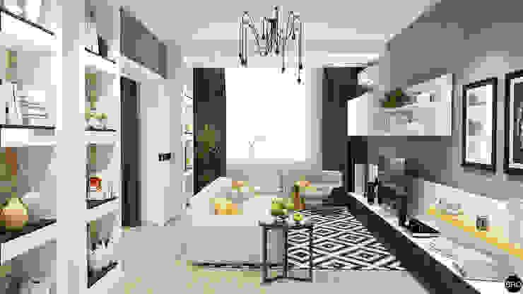 2-к квартира для молодой семьи Гостиная в стиле минимализм от BRO Design Studio Минимализм