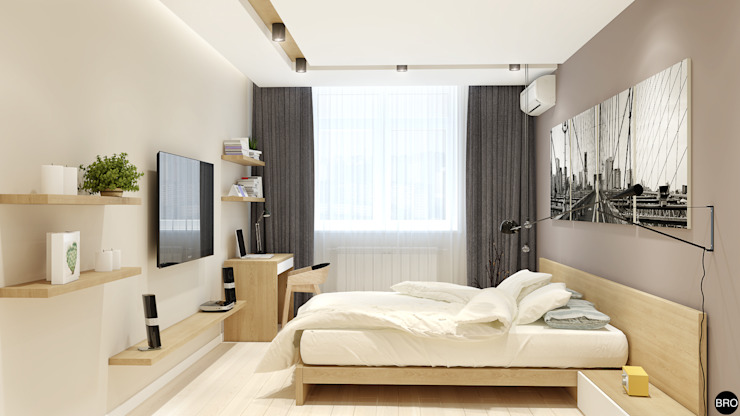 2-к квартира для молодой семьи Спальня в стиле минимализм от BRO Design Studio Минимализм