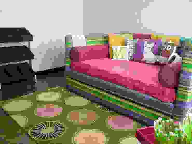 "Cama doble, modelo ""Londres"" de Artmosfera Kids Ecléctico Textil Ámbar/Dorado"