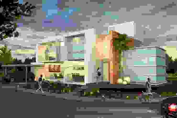Fachada Principal, vista nocturna Casas de estilo minimalista de Milla Arquitectos S.A. de C.V. Minimalista