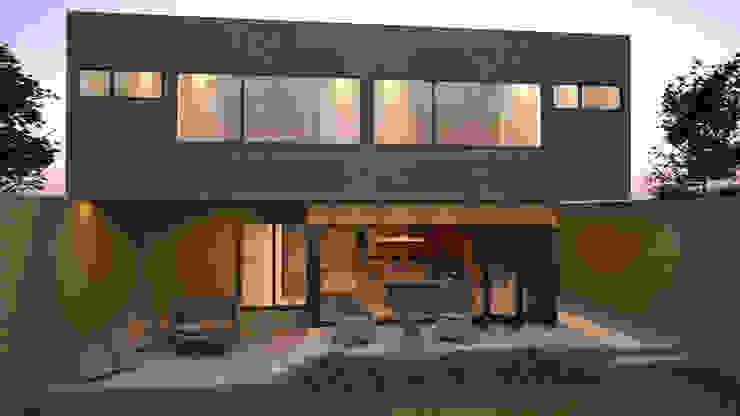 Fachada posterior / Norte Balcones y terrazas de estilo moderno de homify Moderno