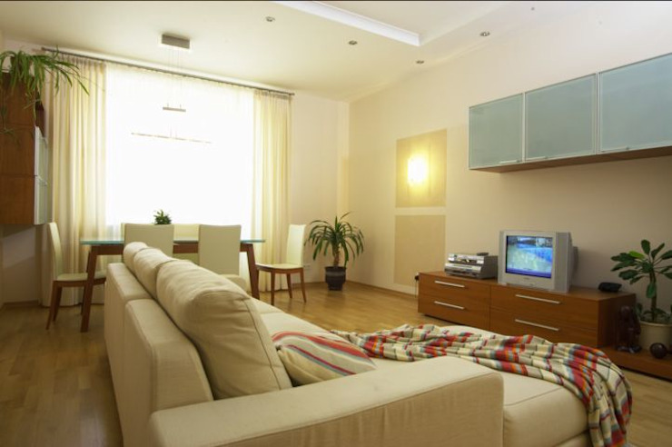 Реализованный проект интерьеров квартиры 124 кв. метра в ЖК Город солнца Гостиная в стиле минимализм от интерьеры от частного дизайнера Минимализм