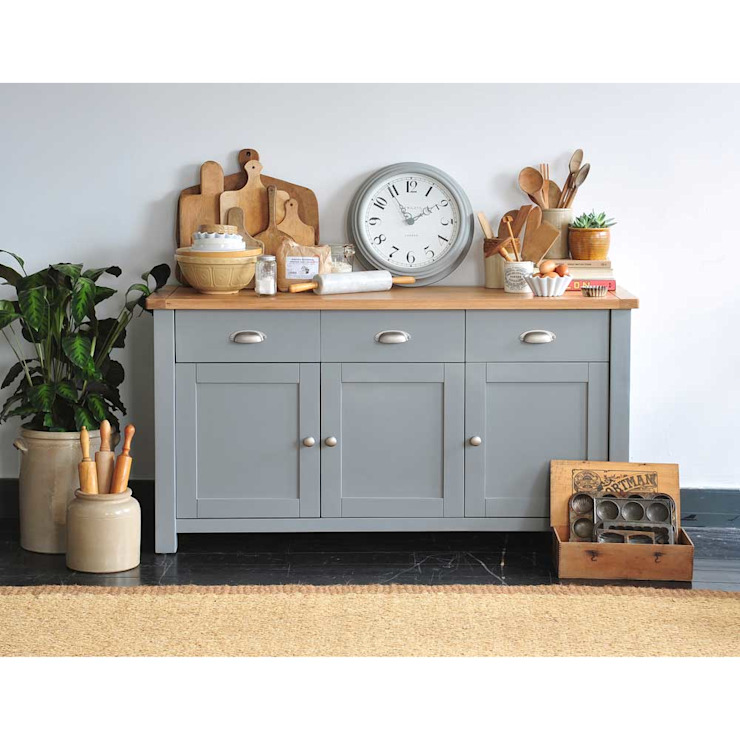 Florence Grey 3 Door Sideboard Country style dining room by The Cotswold Company Country Wood Wood effect
