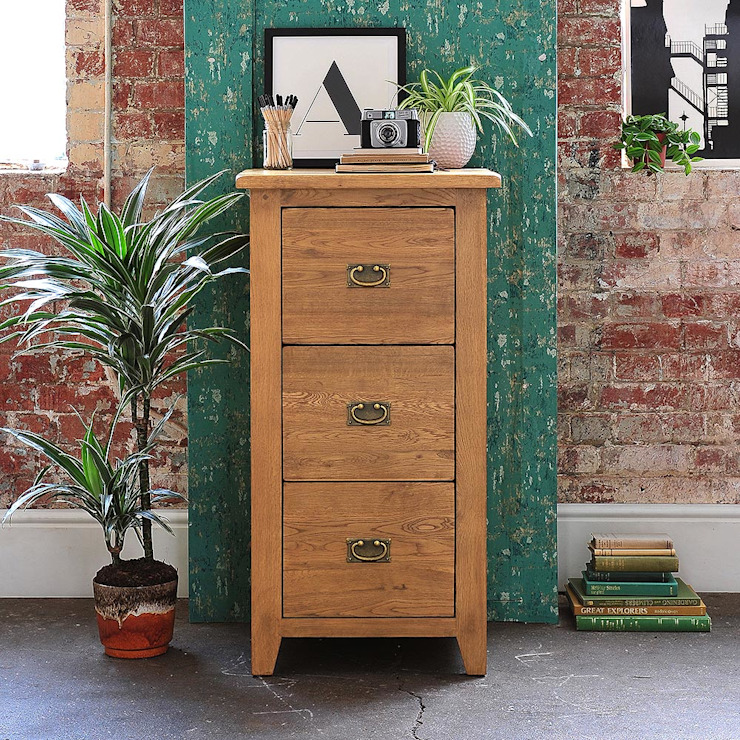 Oakland 3 Drawer Filing Cabinet Country style study/office by The Cotswold Company Country Wood Wood effect