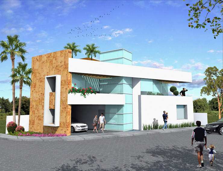 Fachada principal con balcón Milla Arquitectos S.A. de C.V. Casas minimalistas Blanco