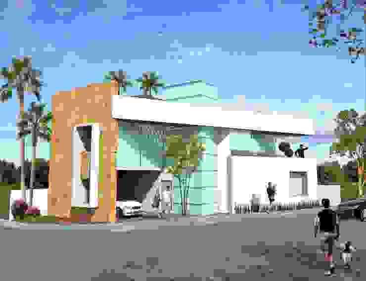 Fachada principal sin balcón Milla Arquitectos S.A. de C.V. Casas minimalistas Blanco