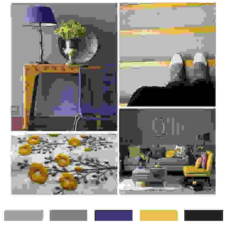 그레이 & 퍼플 & 머스타드 옐로우 컬러칩 스칸디나비아 거실 by LYCKA interior & styling 북유럽