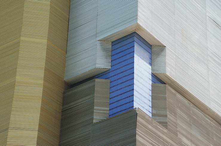 Detalhe da fachada Escritórios modernos por Peixoto Arquitetos Associados Moderno