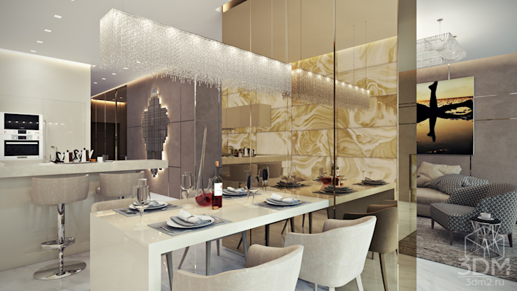 Квартира-студия в стиле Хай-тек Столовая комната в стиле минимализм от студия визуализации и дизайна интерьера '3dm2' Минимализм
