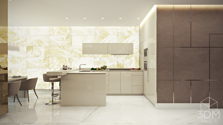 Квартира-студия в стиле Хай-тек Кухня в стиле минимализм от студия визуализации и дизайна интерьера '3dm2' Минимализм