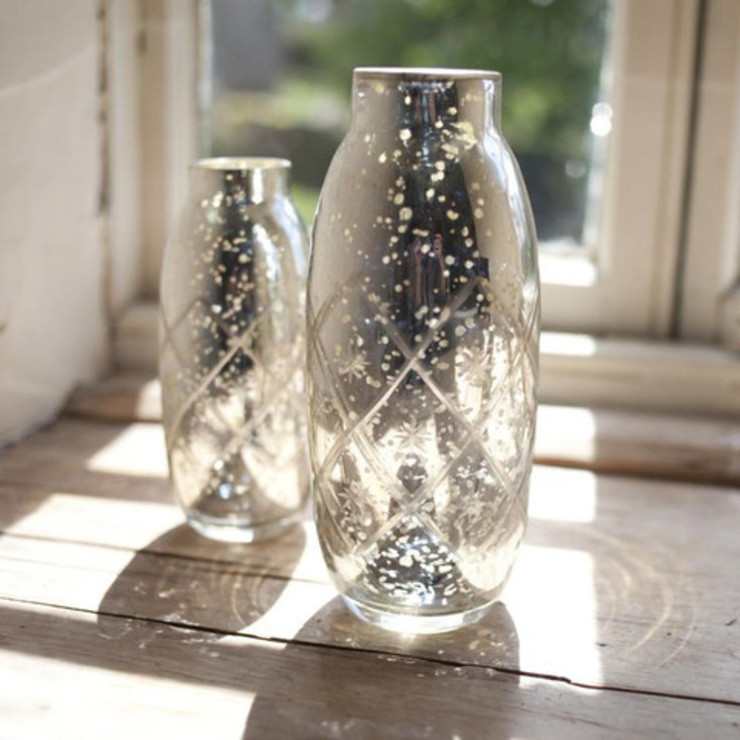 Antique Silver Etched Vase Dust 家居用品配件與裝飾品 Metallic/Silver