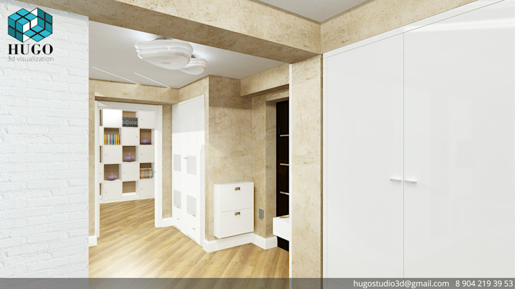 ПРОЕКТ №2 Коридор, прихожая и лестница в стиле минимализм от HUGO Минимализм