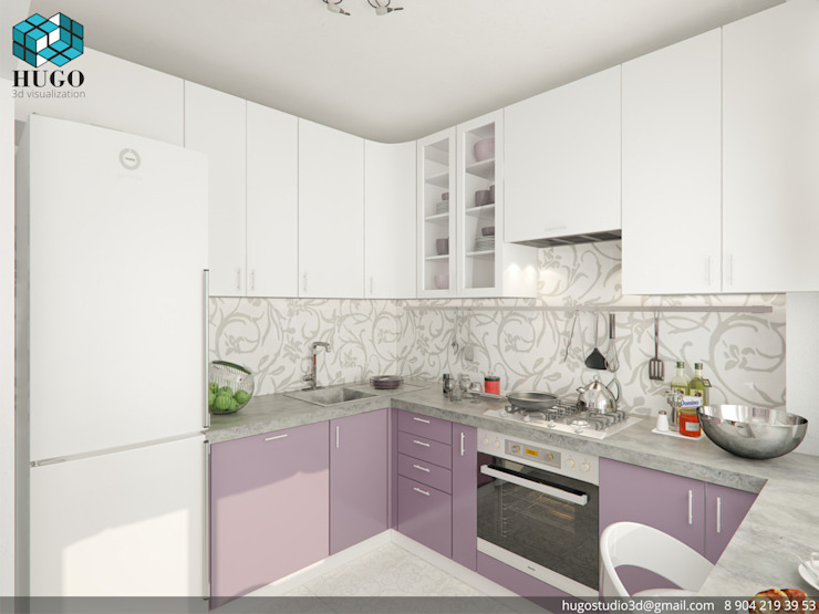 HUGO Minimalist kitchen Purple/Violet
