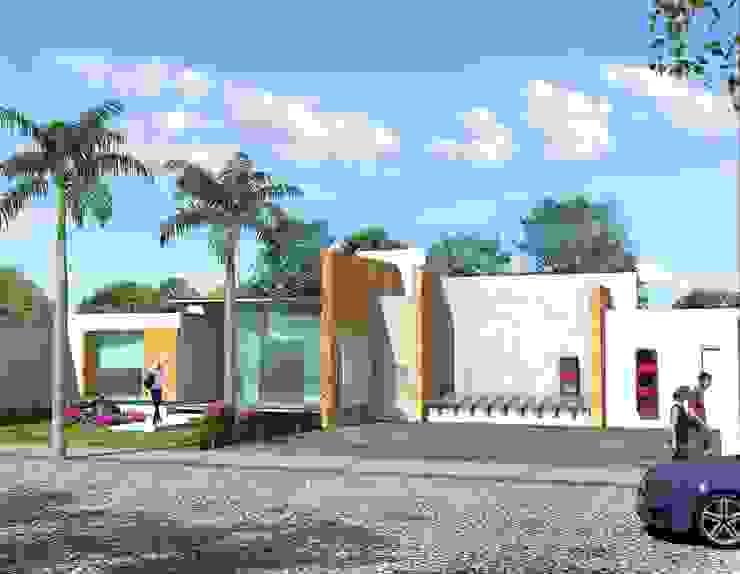 Fachada Principal desde a cochera Casas minimalistas de Milla Arquitectos S.A. de C.V. Minimalista