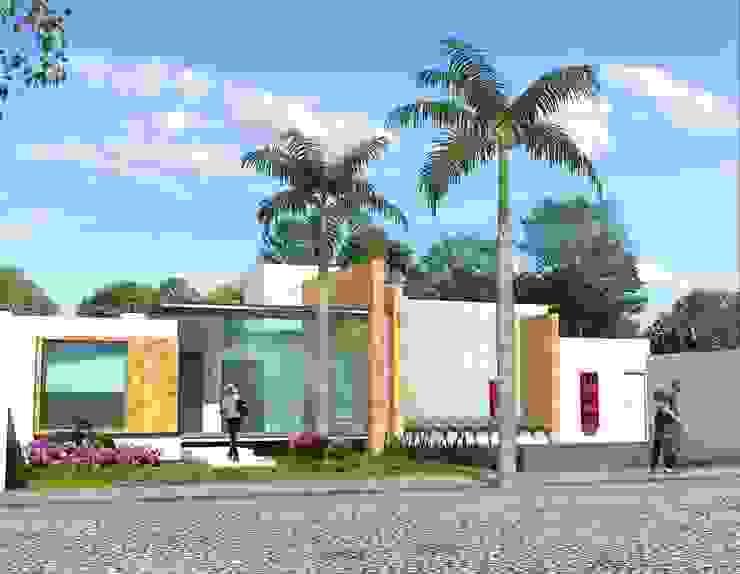 Fachada principal desde el acceso Casas minimalistas de Milla Arquitectos S.A. de C.V. Minimalista