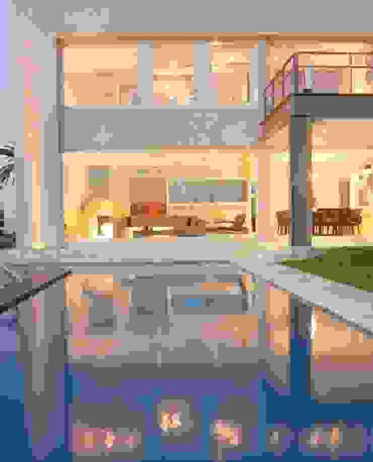 Living desde la piscina Casas minimalistas de Ramirez Arquitectura Minimalista Vidrio