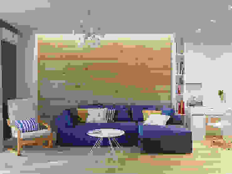 Квартира однокомнатная для аренды Гостиные в эклектичном стиле от Оксана Мухина Эклектичный