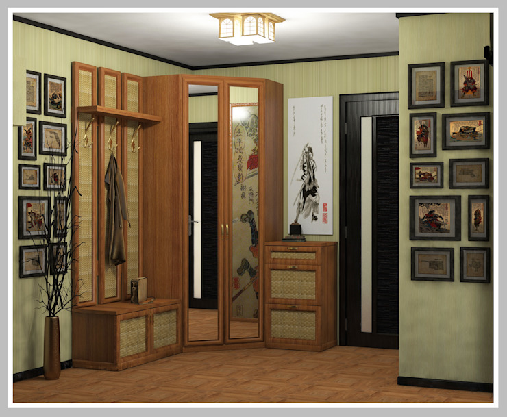 Прихожая Вид 1 Коридор, прихожая и лестница в азиатском стиле от Рязанова Галина Азиатский