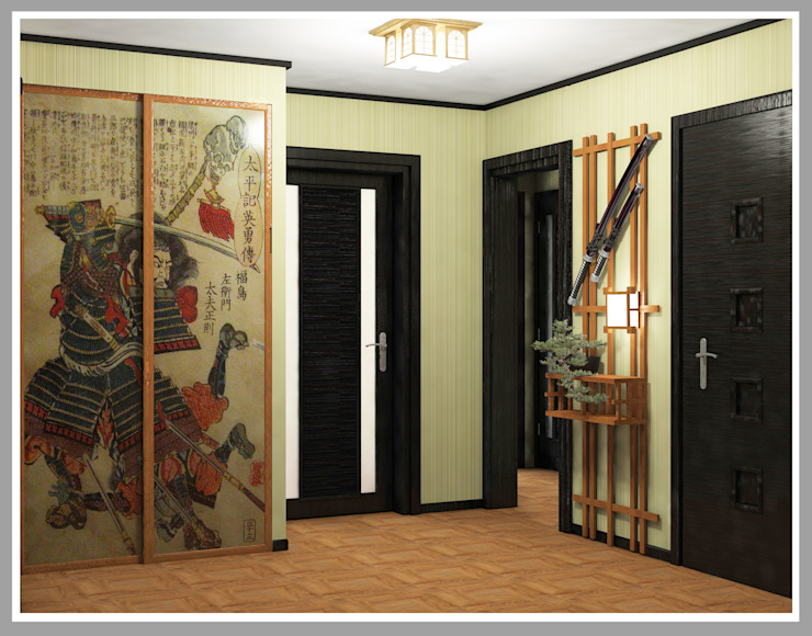 Прихожая Вид 2 Коридор, прихожая и лестница в азиатском стиле от Рязанова Галина Азиатский
